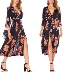 Free People Miranda Floral Midi Slit Black Dress